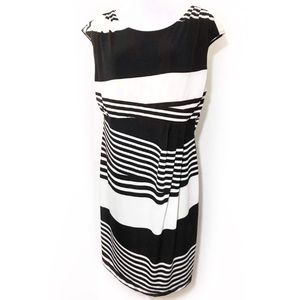 Bisou Bisou 20W Black Striped Sheath Dress Stretch
